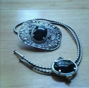 Western silver bolo and buckle set